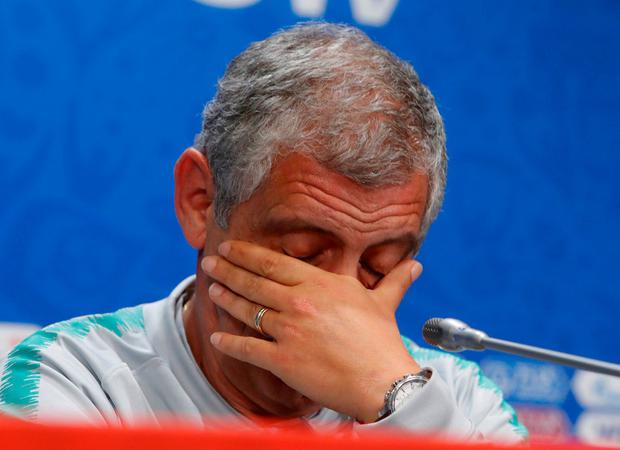 Portugal coach Fernando Santos reacts during the press conference. Photo: Sergei Karpukhin/Reuters
