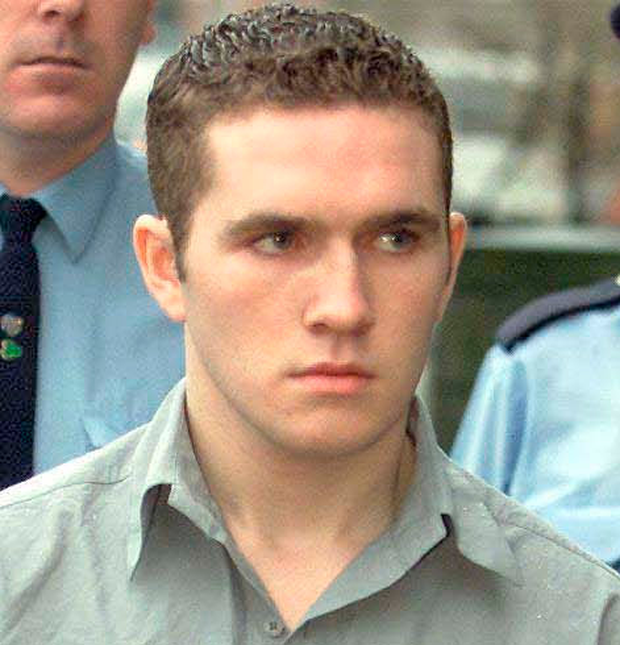 Patrick Nevin outside court in 2001 when he was jailed for seven years for an attack on his girlfriend in which he killed her two dogs. Picture: Courtpix