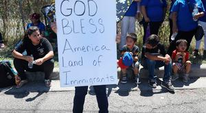 People protest at the separation of children from their parents in front of the El Paso Processing Centre, an immigration detention facility, at the Mexican border in El Paso, Texas. Photo: Getty Images
