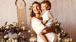 Candice Swanepoel with her son Anaca. Picture: Instagram