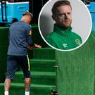 Neymar limps out of training and (inset) Damien Duff
