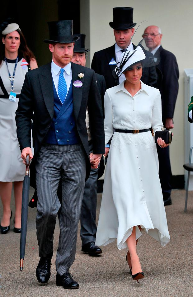Prince Harry, Duke of Sussex and Meghan, Duchess of Sussex during day one of Royal Ascot at Ascot Racecourse
