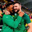 Bundee Aki, left, and Robbie Henshaw of Ireland celebrate second test win