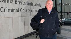 David Drumm, former Anglo Irish Bank Chief Executive arrives at the Dublin Circuit Criminal Court for his sentencing hearing. Picture: Damien Eagers