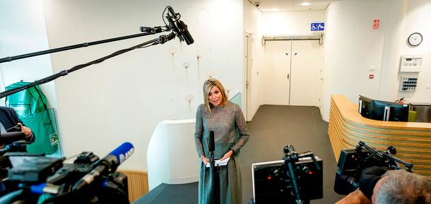 Dutch Queen Maxima addresses the media during a working visit to the Proton Therapy Center (Protonentherapiecentrum) in Groningen on June 19, 2018. / AFP PHOTO / ANP / Robin van Lonkhuijsen / Netherlands OUTROBIN VAN LONKHUIJSEN/AFP/Getty Images