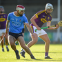 Rory O'Connor of Wexford in action against Paddy Smyth of Dublin during the Bord Gáis Energy Leinster GAA Hurling U21 Championship Semi-Final match between Dublin and Wexford at Parnell Park in Dublin.