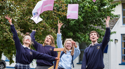 Julia Smolnicka, Stewart Lawlor, Sade Hegazi and Alex Butler after sitting the DCG Leaving Cert exam at Coláiste Íosagáin secondary school in Portarlington, Co Laois, yesterday. Photo: Mark Condren