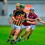 Kilkenny's Martin Keoghan attempts to get away from Kevin Cooney of Galway during the Bord Gáis Energy Leinster U21 semi-final. Photo: Sportsfile