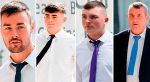 Brothers (left-right) Dean Bradley, Jason Bradley, Ryan Bradley and their father Paul Bradley all plead not guilty to murder