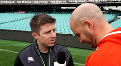 Ireland physio Colm Fuller does his Mícheal Ó Muircheartaigh impression for Tadhg Kennelly.