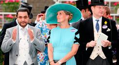 Horse owner (left-right) Imad Al Sagar, The Countess of Wessex, and the Earl of Derby during day two of Royal Ascot at Ascot Racecourse