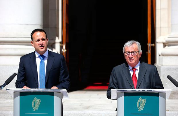 Taoiseach, Leo Varadkar, TD and President Jean-Claude Juncker address the media at Government buildings this morning. Picture credit: Damien Eagers