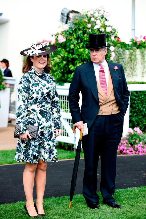Prince Andrew, Duke of York and Princess Eugenie of York during day three of Royal Ascot at Ascot Racecourse