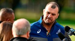 Australian rugby coach Michael Cheika speaks to the media in Sydney today