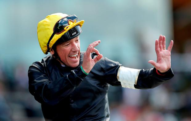 Frankie Dettori celebrates after winning the 4.20 Gold Cup with Stradivarius. Action Images via Reuters/Andrew Boyers