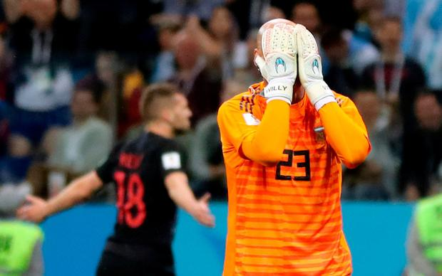 Argentina's Willy Caballero looks dejected after Croatia's Ante Rebic scored. REUTERS/Ivan Alvarado