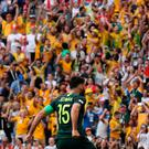 Australia's Mile Jedinak celebrates scoring. Photo: Reuters