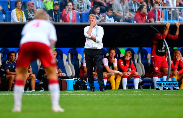 Denmark coach Age Hareide during the match. Photo: Reuters