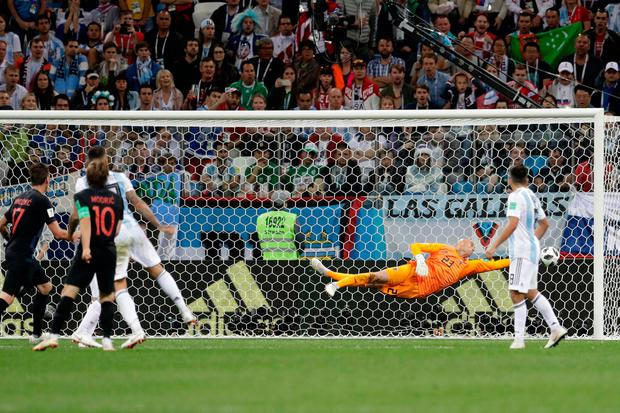Croatia's Luka Modric score his side's second goal. Photo: AP