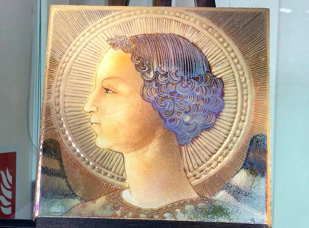 The portrait appears on a majolica glazed tile – a popular art form in Europe in the 15th century. Photo: Nick Squires