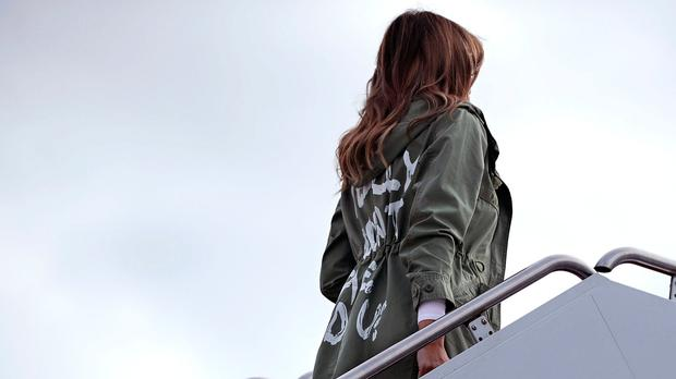 US first lady Melania Trump wearing the jacket emblazoned with 'I really don't care, do u?' (Photo by Chip Somodevilla/Getty Images)