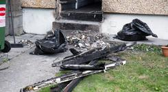 The home of Toni Reid was destroyed by fire at Ballyfermot Road yesterday. Photo: Colin O'Riordan
