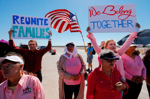Protesters outside of a migrant children's encampment in Tornillo, Texas. Photo: Mike Blake/Reuters