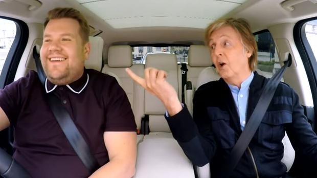 Paul Mc Cartney with James Corden on Carpool Karaoke