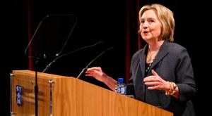 Former US Secretary of State Hillary Rodham Clinton gives a public lecture at Trinity College Dublin. Picture: Maxwells