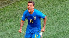 Brazil's Philippe Coutinho celebrates scoring his side's first goal