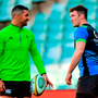 Irish skipper Peter O'Mahony and Rob Kearney during Ireland's captain's run at Allianz Stadium in Sydney yesterday. Photo: Brendan Moran/Sportsfile