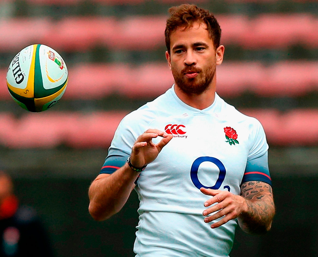 Danny Cipriani catches the ball during the England captain's run in Cape Town yesterday. Photo: David Rogers/Getty Images