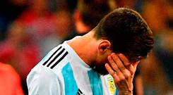 Lionel Messi reacts during Argentina's stunning defeat against Croatia on Thursday night. Photo: Getty Images