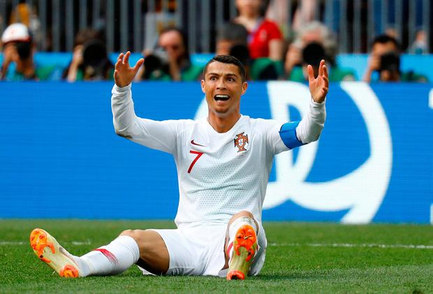 Portugal's Cristiano Ronaldo celebrates during the match against Morocco at the Luzhniki Stadium in Moscow. Photo: Reuters