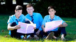 Padraig Finnerty and Danny Dixon after their exam at St Patrick's Classical School in Navan, Co Meath. Photo: Frank McGrath