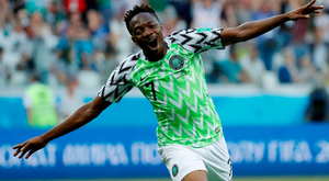 Nigeria's Ahmed Musa celebrates scoring his side's second goal. Photo: Toru Hanai/Reuters