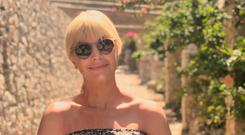 Yvonne Connolly enjoying the sunshine in Santorini where she is with her beau, John Conroy, who is enjoying a well-deserved break from filming in Rome before heading to his next project in New Orleans