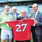 From left, Dublin hurling manager Pat Gilroy, former Kilkenny hurler Henry Shefflin, European Commissioner Phil Hogan, President of the European Commission Jean-Claude Juncker and Foreign Affairs Minister Simon Coveney at Croke Park. Photo: Brian Lawless/PA Wire
