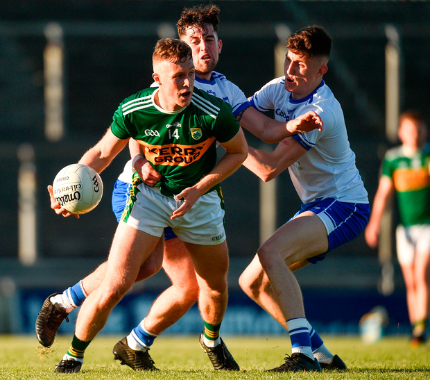 Kerry's Bryan Sweeney in action against Conor O Cuirrin, left, and Ciaran Walsh of Waterford. Photo: Matt Browne/Sportsfile