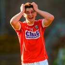 Chris Óg Jones of Cork reacts after a missed chance. Phot: Piaras Ó Mídheach/Sportsfile