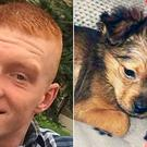 Kyle Keegan is accused of inflicting fatal injuries on puppy Sparky (right)