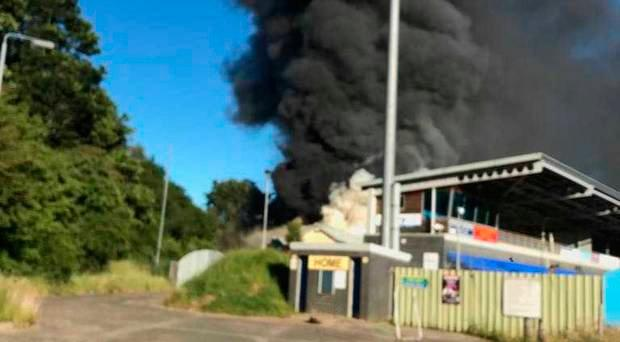 Scene of the fire at Institute's Riverside ground. Pic Leona O'Neill