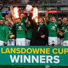 23 June 2018; The Ireland team celebrate with the Lansdowne Cup after the 2018 Mitsubishi Estate Ireland Series 3rd Test match between Australia and Ireland at Allianz Stadium in Sydney, Australia. Photo by Brendan Moran/Sportsfile