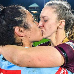 Foliaki and Brown embrace following the game. NRL/Facebook
