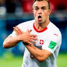 Switzerland's Xherdan Shaqiri celebrates after scoring his side's second goal