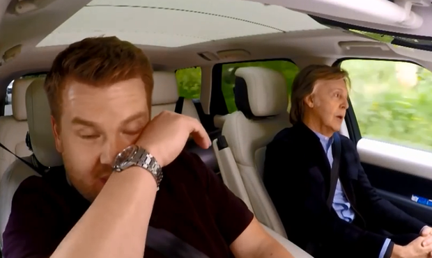 Former Beatle Paul McCartney reduces TV host James Corden to tears during a tour around Liverpool. Photo: Sky One