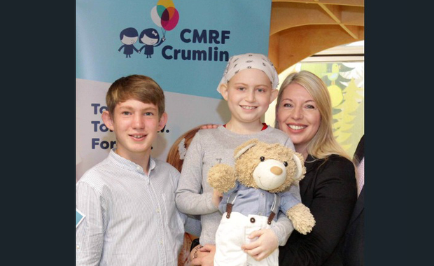 Noreen Doyle with her son James and daughter Kate, both of whom were diagnosed with leukaemia