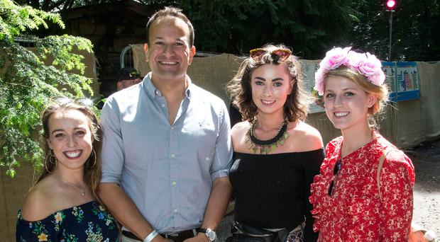 An Taoiseach Leo Varadkar pictured with from left; Nicky Cribbin, Drumcondra, Joanna Markowska, Kildare and Emma Greene Kildare at The Body and Soul Festival at Clonmellon, Co. Westmeath Photo: Colin O'Riordan