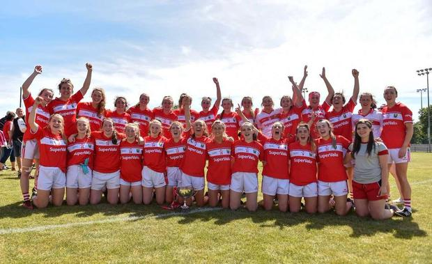 Cork players celebrate with the cup following the TG4 Munster Ladies Senior Football Final match between Cork and Kerry at CIT in Bishopstown, Cork. Photo by Eóin Noonan/Sportsfile