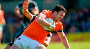 Aidan Forker of Armagh in action against Neil Ewing of Sligo during the GAA Football All-Ireland Senior Championship Round 2 match between Sligo and Armagh at Markievicz Park in Sligo. Photo by Oliver McVeigh/Sportsfile